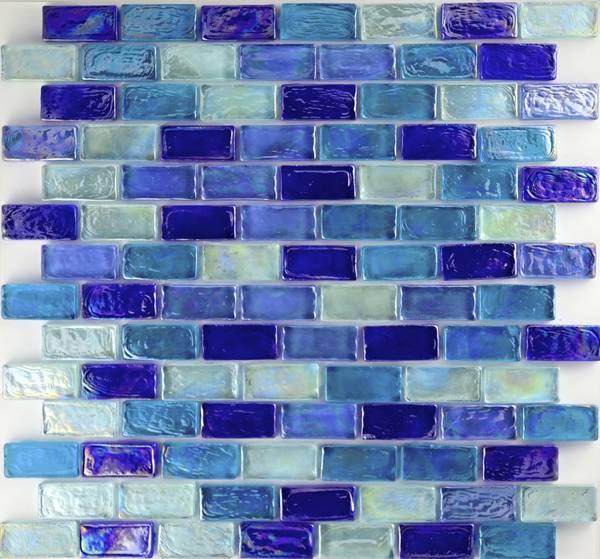 Dark Blue Brick Blend Mix Glass Pool Tiles
