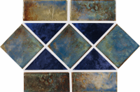 "National Pool Tile - Martinique Ocean Blue Border 6""x12"" Pattern"