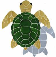 Artistry in Mosaics - Turtle, Classic Topview Natural with shadow