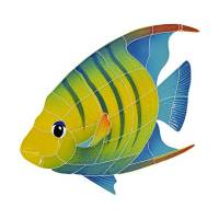 Pool Mosaics - Tropical Fish Mosaics - Artistry in Mosaics - Banded Angel Fish left