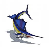 Pool Mosaics - Shadowed Mosaics - Artistry in Mosaics - Sailfish with Shadow Right