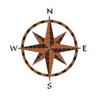 Pool Mosaics - Medallion Mosaics - Artistry in Mosaics - Eight Point Compass Mosaic-BROWN