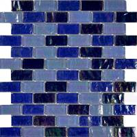 "Wall Tile - Glass Mosaics - Artistry in Mosaics - Blue Blend 1""x2"""