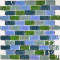 "Pool Tile - Glass Pool Tiles - Artistry in Mosaics - Blue Green Blend 1""x2"""