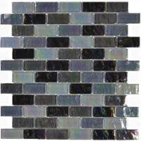 "Pool Tile - Glass Pool Tiles - Artistry in Mosaics - Black Blend 1""x2"""
