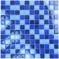 "Pool Tile - Glass Pool Tiles - Artistry in Mosaics - Cobalt Blue Blend 1""x1"""