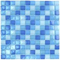 "Wall Tile - Glass Mosaics - Artistry in Mosaics - Turquoise Cobalt Blue Blend 1""x1"""