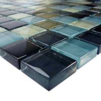 "Wall Tile - Glass Mosaics - Black Charcoal Gray Taupe Blend 1""x1"""
