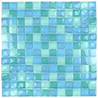 "Wall Tile - Glass Mosaics - Artistry in Mosaics - Turquoise Blue Blend 1""x1"""