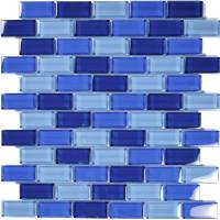 "Wall Tile - Glass Mosaics - Artistry in Mosaics - Cobalt Blue Blend 1""x2"""