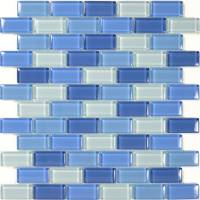 "Wall Tile - Glass Mosaics - Artistry in Mosaics - Turqoiuse Cobalt Blue Blend 1""x2"""