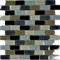 "Wall Tile - Glass Mosaics - Artistry in Mosaics - Black Charcoal Gray Taupe Blend 1""x2"""