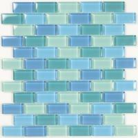 "Wall Tile - Glass Mosaics - Artistry in Mosaics - Turquoise Blue Blend 1""x2"""