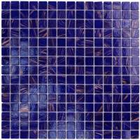 "Wall Tile - Glass Mosaics - Artistry in Mosaics - Cobalt Blue Copper Blend .75""x.75"""