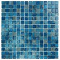 "Pool Tile - Glass Pool Tiles - Artistry in Mosaics - Blue Copper Blend .75""x.75"""