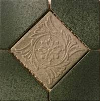 "Pool Tile - Trim,Accents&Mosaic Patterns - Fujiwa Tile - Alco-501 Nature Green Deco 6""x6"""