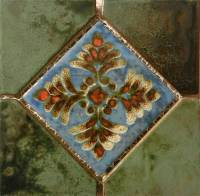 "Pool Tile - Trim,Accents&Mosaic Patterns - Fujiwa Tile - Joya-501 Verde 6""x6"" Deco"