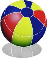 Pool Mosaics - Shadowed Mosaics - Artistry in Mosaics - Beach Ball Multi Color with shadow