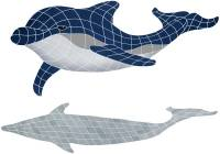 Pool Mosaics - Shadowed Mosaics - Artistry in Mosaics - Bottlenose Dolphin Downward with shadow