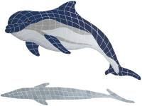 Pool Mosaics - Dolphin Mosaics - Artistry in Mosaics - Bottlenose Dolphin Upward with shadow