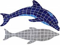 Pool Mosaics - Shadowed Mosaics - Artistry in Mosaics - Dolphin, Diving with shadow