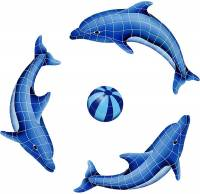 Pool Mosaics - Dolphin Mosaics - Artistry in Mosaics - Dolphin Group (1 left, 2 right, 1 FREE blue or multi color ball)
