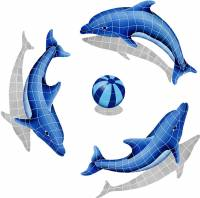 Pool Mosaics - Dolphin Mosaics - Artistry in Mosaics - Dolphin Group shadow  (1 left, 2 right, 1 FREE blue or multi color ball)