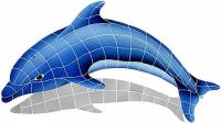 Pool Mosaics - Dolphin Mosaics - Artistry in Mosaics - Dolphin Left with shadow