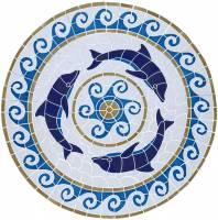 Pool Mosaics - Medallion Mosaics - Artistry in Mosaics - Dolphin Medallion