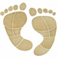 Pool Mosaics - Footprint Mosaics - Artistry in Mosaics - Footprints tan Mosaic (med)