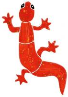Pool Mosaics - Garden & Pond Mosaics - Artistry in Mosaics - Gecko red mosaic-baby