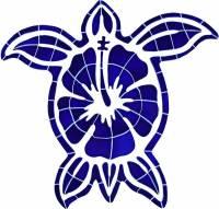 Pool Mosaics - Turtle Mosaics - Artistry in Mosaics - Hibiscus Turtle Mosaic
