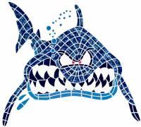Pool Mosaics - Sport Fish & Shark Mosaics - Artistry in Mosaics - In Your Face Shark
