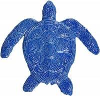 Pool Mosaics - Turtle Mosaics - Artistry in Mosaics - Loggerhead Turtle blue