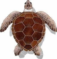 Pool Mosaics - Turtle Mosaics - Artistry in Mosaics - Loggerhead Turtle Brown with shadow