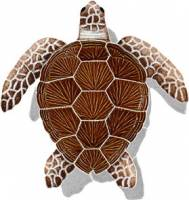 Pool Mosaics - Shadowed Mosaics - Artistry in Mosaics - Loggerhead Turtle Brown with shadow