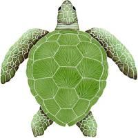 Pool Mosaics - Turtle Mosaics - Artistry in Mosaics - Loggerhead Turtle Green