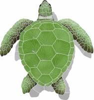 Pool Mosaics - Turtle Mosaics - Artistry in Mosaics - Loggerhead Turtle Green with shadow