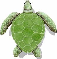 Pool Mosaics - Shadowed Mosaics - Artistry in Mosaics - Loggerhead Turtle Green with shadow