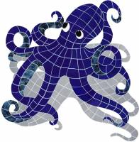 Pool Mosaics - Shadowed Mosaics - Artistry in Mosaics - Octopus with shadow