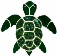 Pool Mosaics - Turtle Mosaics - Artistry in Mosaics - Turtle, Classic Topview Green