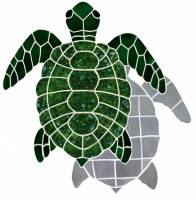 Pool Mosaics - Shadowed Mosaics - Artistry in Mosaics - Turtle, Classic Topview Green with shadow
