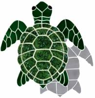 Pool Mosaics - Turtle Mosaics - Artistry in Mosaics - Turtle, Classic Topview Green with shadow
