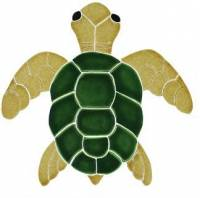 Pool Mosaics - Turtle Mosaics - Artistry in Mosaics - Turtle, Classic Topview Natural