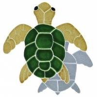 Pool Mosaics - Shadowed Mosaics - Artistry in Mosaics - Turtle, Classic Topview Natural with shadow