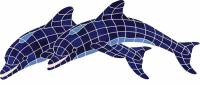 Pool Mosaics - Dolphin Mosaics - Artistry in Mosaics - Twin Dolphins
