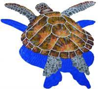 Pool Mosaics - Turtle Mosaics - Artistry in Mosaics - Glass Loggerhead Turtle Large shadow