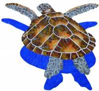 Pool Mosaics - Turtle Mosaics - Artistry in Mosaics - Glass Loggerhead Turtle Small shadow