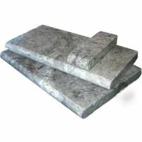 Pool Coping - Natural  Stone - MS International  - Silver Travertine Pool Coping