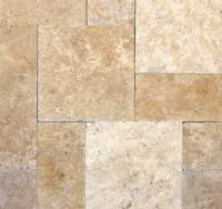 "Decking - Natural Stone Pavers - MS International  - Tuscany Beige Versailles pattern pavers-1.18"" thickness"